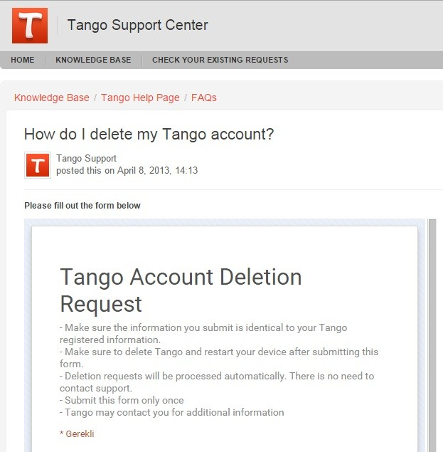 Tango Hesap Sİlme Formu